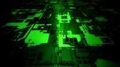 rams : 3D Green Sci-Fi Mother Board Circuits Intro Logo Background Stock Footage