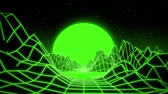 arcada : 3D Green Neon Retro Synthwave VJ Loop Motion Background