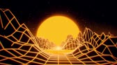 arcada : 3D Yellow Neon Retro Synthwave VJ Loop Motion Background