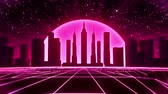 reddish : 3D Reddish Pink Neon Retro Synthwave City VJ Loop Motion Background
