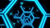tunel : 3D Blue Sci-Fi Neon Hexagons VJ Loop Motion Background Dostupné videozáznamy