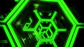 tunel : 3D Green Sci-Fi Neon Hexagons VJ Loop Motion Background