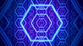 Blue Purple Hexagons Infinite Zoom VJ Loop Motion Background Filmati Stock