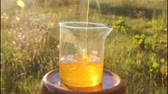 uniqueness : Stream of fresh honey. Fresh honey is poured into a vessel.