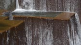 splash park : Close up shot of one of the falls and pools at Keller Fountain in Portland, Oregon. Stock Footage