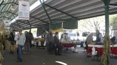 купить : DAVIS CALIFORNIA, NOVEMBER 22 2016, The Davis Farmers market, people walking through and looking at the agricultural items for purchase. One family taking a photo.