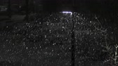Snowing at night, the falling flakes visible in the beam from a streetlight. A parking lot and cars that have begun to be covered in snow in the background. Stock Footage