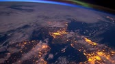 astrologia : Planet earth from the space at night animation. the flight from space to earth amination. Planet earth at night animation.