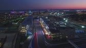 rosa : Aerial OLIMPIC VILAGE, SOCHI, RUSSIA. The Olympic village in Sochi at night. Amazing perspective of fantastic Bogatyr hotel, the formula 1 track, the stadium fischt, building backlighted by different colors near the Olympic village in Sochi summer night b Vídeos