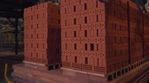 industrial : Plant for the production of bricks. Plant for production building material with ready brick, construction industrial. Production of bricks on plant. Workflow, close-up. Brick stacks. Many bricks