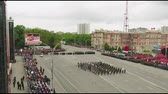 caqui : MOSCOW - MAY 09: Celebration of anniversary of the Victory Day WWII on May 9, 2017 in Moscow, Russia. Military equipment, tanks and soldiers. Aerial view on military parade