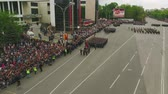 carbine : MOSCOW - MAY 09: Celebration of anniversary of the Victory Day WWII on May 9, 2017 in Moscow, Russia. Military equipment, tanks and soldiers. Aerial view on military parade