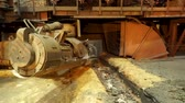 smelt : Metallurgical plant, hot metal casting. Machine taphole ramming. Metallurgical equipment Stock Footage