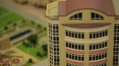 maket : Miniature model,miniature building,city. Model Towns. Miniature model, miniature toy buildings, cars and people. City maquette. Layout Stock Footage