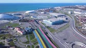 drone point of view : Russia, Sochi - October 20, 2017: Aerial view on Sochi, the Olympic village and Fisht stadium. General view of Sochi Park in the Adler from a birds-eye view. Venue 2018 World Cup FIFA in Russia, From Dron, Point of interest