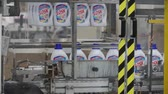 extractor : Moscow, Russia - May, 2017: Liquid Detergent on Automated Production Line. Clip. Production line for the production of chemicals