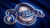 stowarzyszenie : Flag of the Baseball Milwaukee Brewers, american professional baseball team logo, seamless loop. Editorial animation