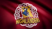 oval shape : Waving in the wind flag with the symbol of the Rugby team the Highlanders. Sports concept. Editorial use only