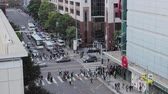 High view of Mission and 4th street infection in San Francisco on an afternoon commute Dostupné videozáznamy