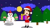 kardan adam : Animation of the girls are holding presents at night during the Christmas and New Year holidays. There are snowman and pine trees. It is snowing and the message above says Happy New Year.