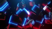 halogen headlamp : Abstract blue and red neon squares Stock Footage