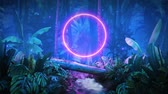night jungle with glowing neon
