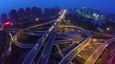 xangai : Aerial Shot Of Traffic Moving On Overpasses At Night Vídeos