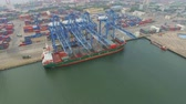 boşaltma : Tianjin, China - July 4, 2017: Aerial View of Harbor with cargo containers,Tianjin,China. Stok Video
