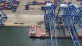 engradado : Tianjin, China - July 4, 2017: Aerial View of Harbor with cargo containers,Tianjin,China. Vídeos