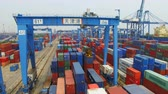 global : Tianjin, China - July 4, 2017: Aerial View of Harbor with cargo containers,Tianjin,China. Stock Footage
