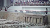 terracota : XIAN, CHINA - 17 Jul 2013:  terracotta army warriors and soldiers found outside Xian China Stock Footage