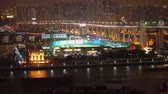 Timelaspe shot of Huangpu river in evening,Shanghai,China.