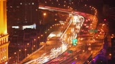 passarela : Timelapse of busy traffic over overpass in modern city , Shanghai, China