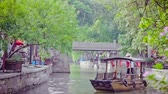 classic architecture : Shanghai China-Sep 09 2013,China: traditional tourist boats at Shanghai Zhujiajiao town, Shanghai China Stock Footage