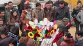 TONGCHUAN CHINA-Feb 26 2012: Crowd at God of Medicines Temple fair during chinese spring festival,