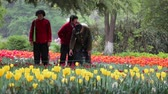 XIAN CHINA-APR 15 2012: People enjoy strolling through the park and admiring the flowers