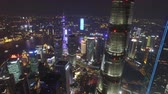 Šanghaj : AERIAL shot of Shanghai Lujiazui City Night Scene,China Dostupné videozáznamy