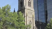 corner : Scots Church is famous landmark of Melbourne city on the Collins Street. Stock Footage