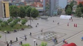 statue : PRISTINA, KOSOVO - JULY 01, 2015: Panoramic view of the Scanderbeg square in city center, view from hotel Swiss Diamond Prishtina.