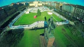 King Tomislav Square and statue in Zagreb Stok Video