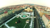 Ice park in the center of Zagreb - aerial
