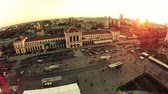 Central Station sunset in Zagreb - aerial