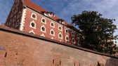 defensiva : Torun, Poland September 23, 2013: Exterior of the medieval city wall in Torun, Poland. Stock Footage