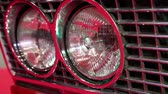 halogen headlamp : Stylish round headlights of a retro car