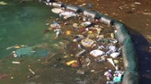 egészségügyi : Garbage floats in the sea near the coast. Muddy water. Abuse of environment Stock mozgókép