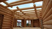 чулан : Bulding of wooden house. Inside new wooden house