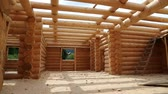 чулан : Construction of new wooden house Стоковые видеозаписи