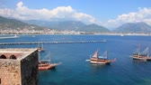 sertlik : Old fortress and ancient ships Alanya, Turkey Stok Video
