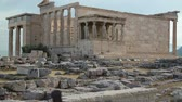 atina : GREECE, ATHENS, JUNE 7, 2013: People near Parthenon - ancient temple in Athenian Acropolis, Greece Stok Video