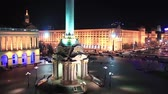 memorial : Square of independence in nighttime in Kiev, Ukraine